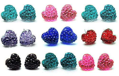 Corazón pendientes cristal aretes corazones nochevieja colores 9 pares de conjunto de pendiente