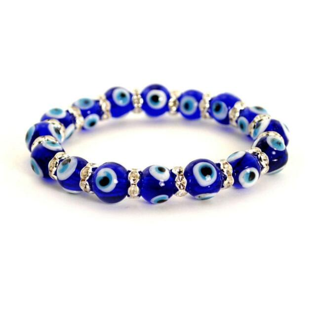 Evil Eye Bead Bracelet 10mm Blue Stretch Good Luck Protection New Gl Lampwork