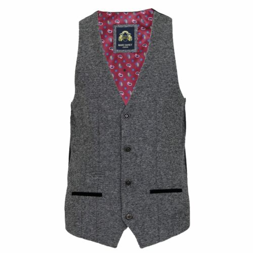 Mens Marc Darcy Rayford Grey Tweed Herringbone 2 Piece Suit Blazer Waistcoat