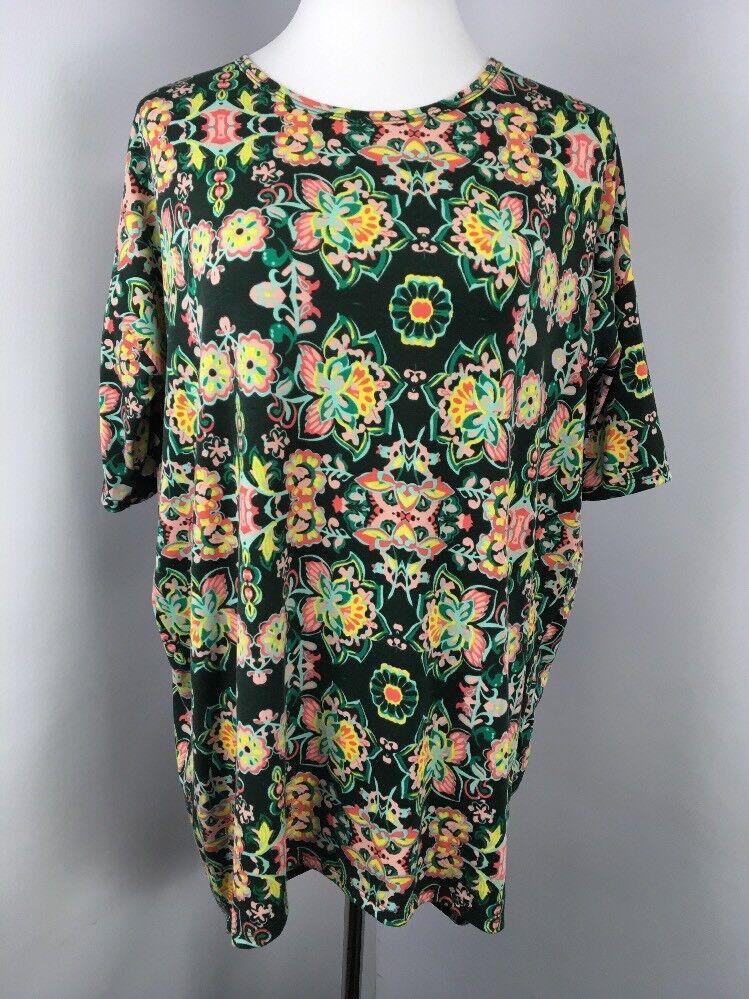 NWOT LuLaRoe NEW Bright NEON Floral MOD Go-Go Geometric Tunic Shirt Sz S Unicorn