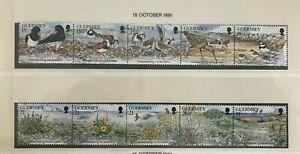Guernsey - 1991 la conservación de la naturaleza Setenant Tiras NHM SG 530-539