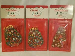 Lot-of-3-Packs-Vintage-Christmas-Gift-Tags-w-Yarn-NOS-Peck-Incorporated-1986