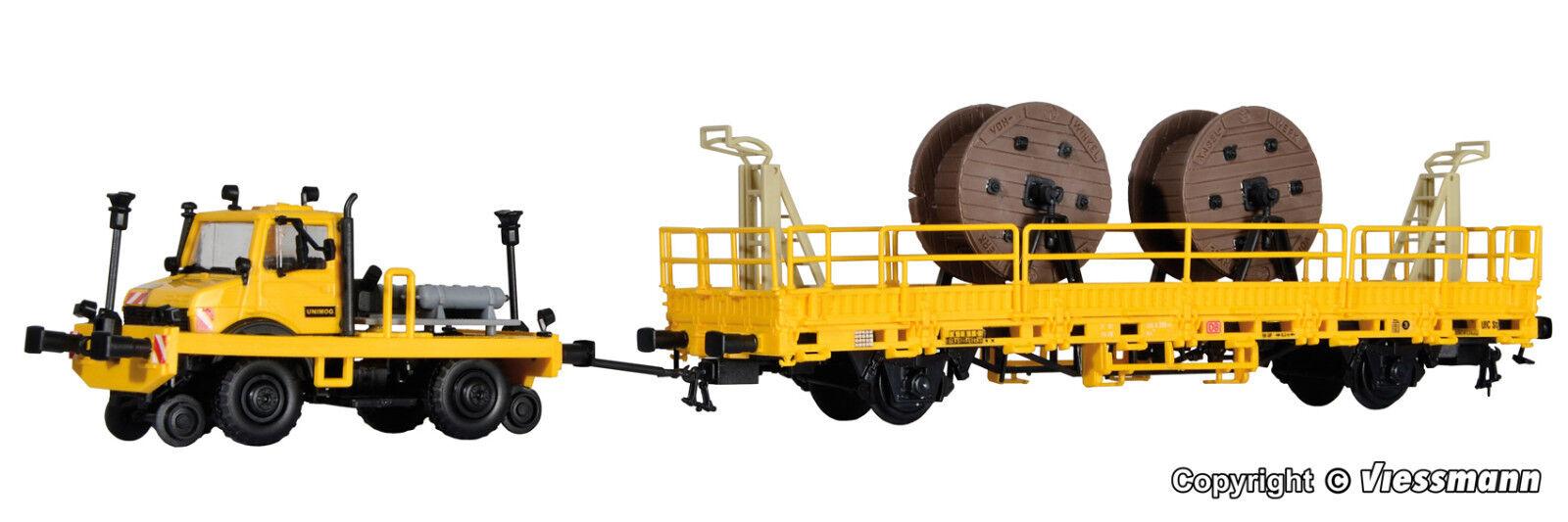 KIBRI h0 16062 2 voies UNIMOG avec train-, cisaillement cadre et fahrleitungsbauwag Nouveau Neuf dans sa boîte