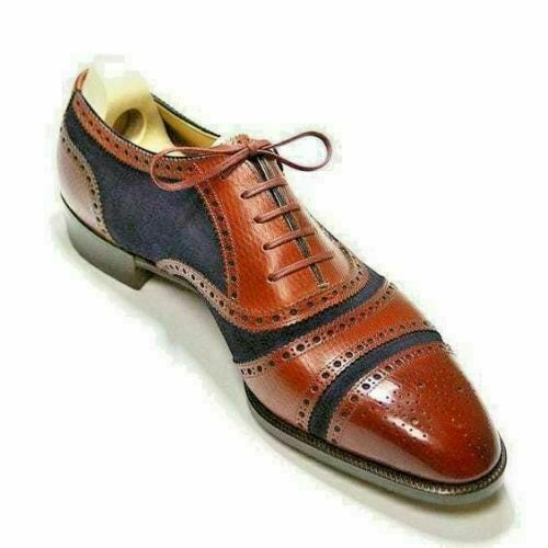 Mens Handmade Tan bluee Suede Upper Derby Oxford Formal Brogue LaceUp shoes Boots