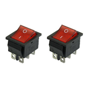 2 pcs 250vac 15a 125v 20a red light 6 pin dpdt snap in boat rockerimage is loading 2 pcs 250vac 15a 125v 20a red light