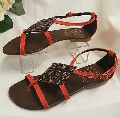 Schuhe Damen Mädchen Sandalen Rot Gr 38 Made Italy flipflop Sommer