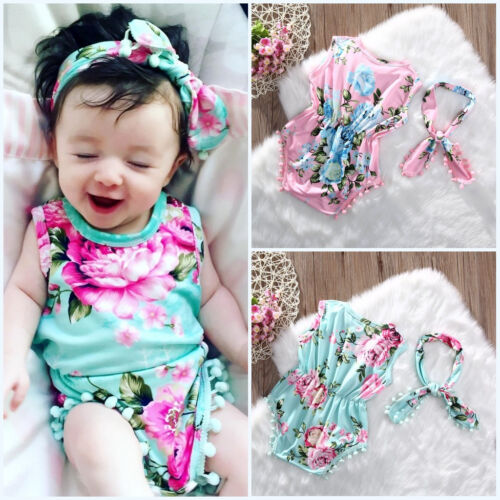 Newborn Baby Girls Floral Romper Jumpsuit Bodysuit Sunsuit One-piece Clothes CA