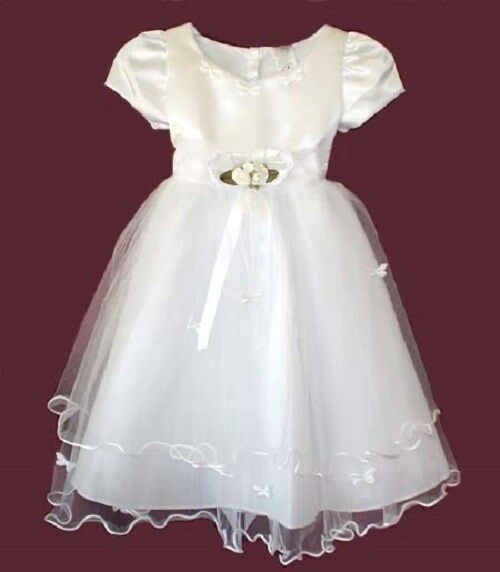 CLOSEOUT FLOWER GIRLS WEDDING PAGEANT WHITE PARTY DRESS SIZE 2, 6