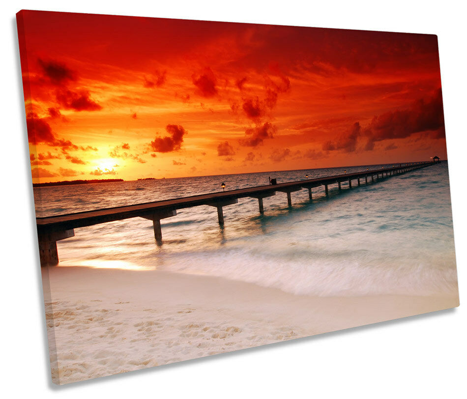 Maldives Beach Sunset SINGLE CANVAS WALL ART Framed Print Print Print 2f75ec