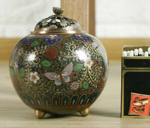 Cloisonne-Can-Older-Blumenmuster-Butterfly-Asiaktika-China-Cloisonne-Box