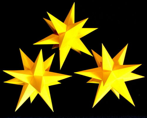 3D Adventsstern 3x kleine Sterne gold-gelb Weihnachtsstern innen Erzgebirge