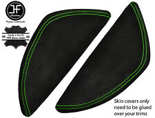 GREEN STITCH 2X  DASH END SIDE TRIM SUEDE COVERS FITS VW T5 TRANSPORTER 03-11