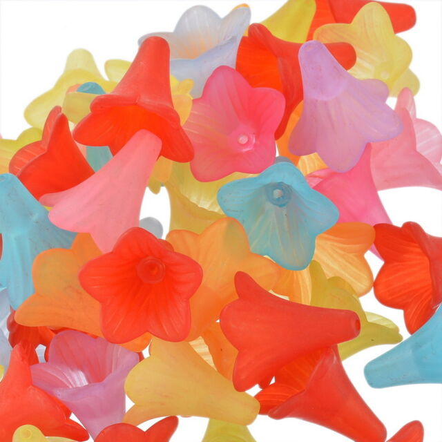 50 Mixed Lily Flower Frosted Acrylic Beads 22x21mm