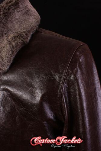 Men/'s COCKPIT Brown FUR COLLAR Jet Fighter Bomber Pilot Short Leather Jacket