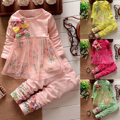 Fashion Kids Girl Summer Flower T-Shirts Pants Party Clothes 2pcs Sets Outfits
