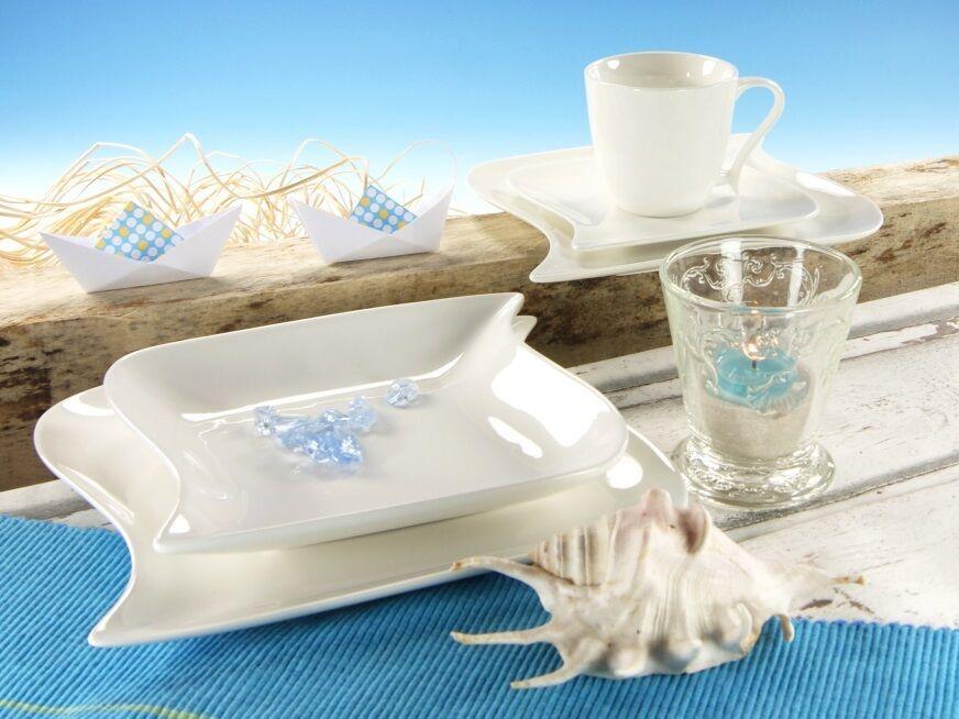 Ocean weiss Kombi service 6 personnes 30tlg porcelaine vaisselle set NOUVEAU rectangulaire