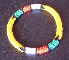 African tribal beaded bangle bracelet yellow hand made Zulu jewellery jewelry