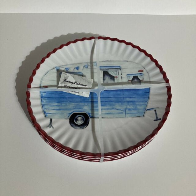"""Tommy Bahama Melamine Dinner Plates set of 8 Authentic 11/"""" ~ RV Camper Camping"""