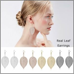 Fashion-Jewelry-Gift-Long-Leaf-Dangle-Drop-Earrings-Women-Girls-Statement