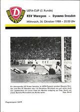 EC III 88/89 SG Dynamo Dresden - KSV Waregem, hellgelbe Edition, 26.10.1988