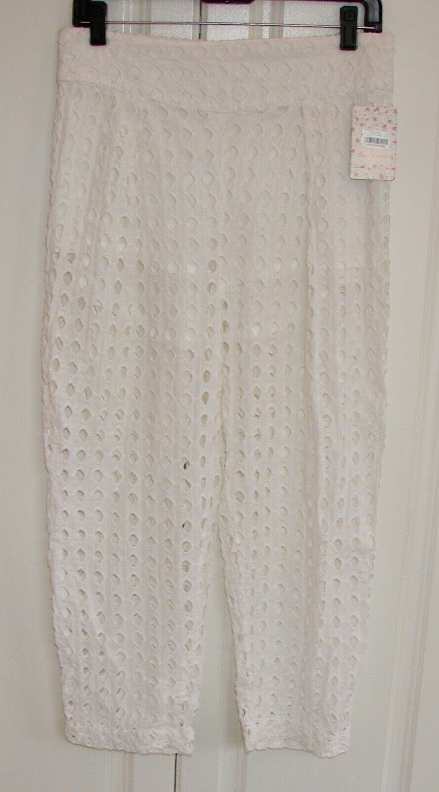 NWT Free People sz Small white cotton eyelet straight leg pants w shorts