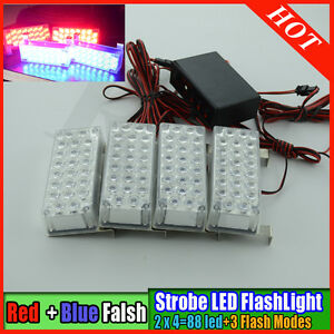 2016-New-Blue-amp-Red-Flashing-Strobe-light-12-volts-3-flashing-modes-88-leds-4x22