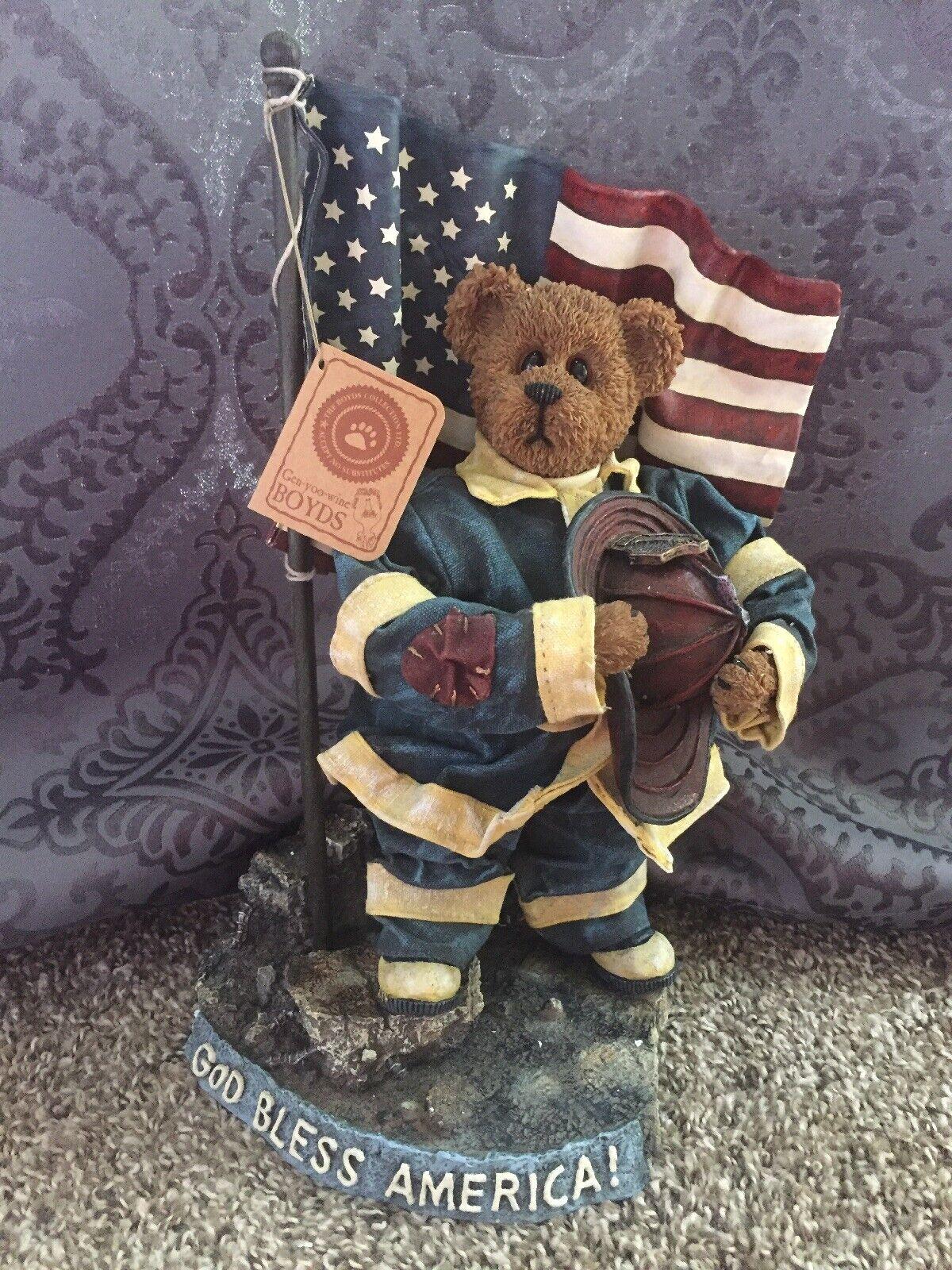 BOYDS BEARS CRUMPLETON OUR AMERICAN HERO FIREFIGHTER 73110 GOD BLESS AMERICA NIB