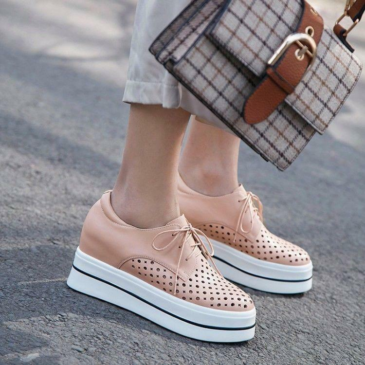 Womens Round Toe Hollow Out Breathable Lace up Sports Wedge Heels Leahter shoes