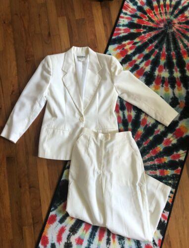 Vintage VTG 1980s 80s Cream White Pant Suit Set P… - image 1