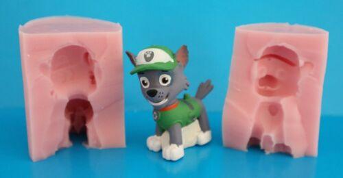 argile etc. 3D Paw patrol rocky Moule en silicone pour gâteau Toppers chocolat
