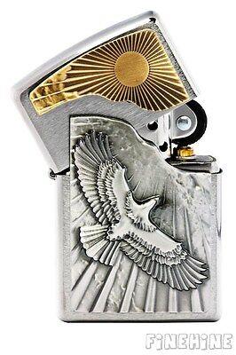 EAGLE SUN FLY neu ovp EMBLEM ZIPPO Chrome Brushed