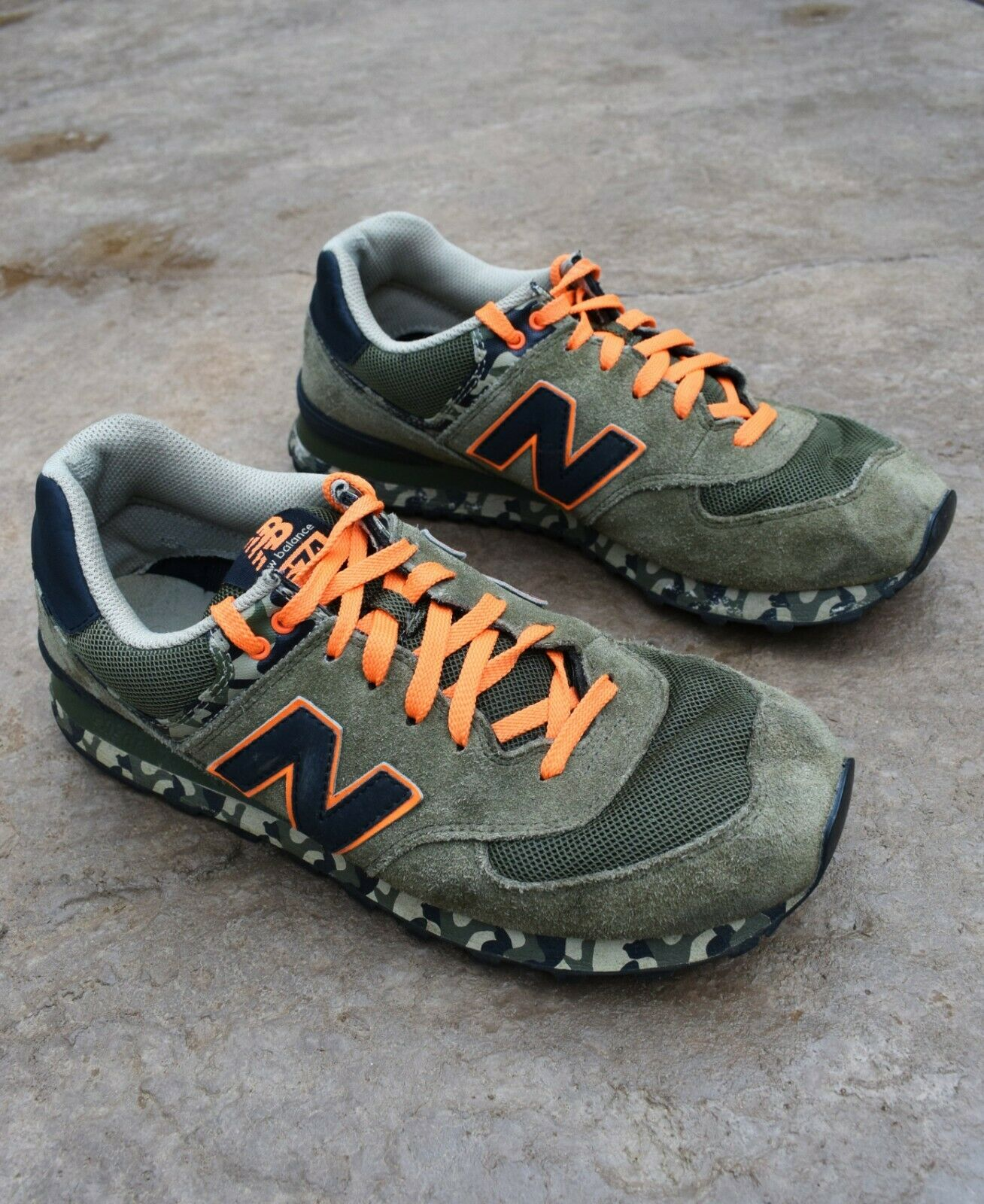 New Balance 574 Camo Green shoes Sneakers Mens Size 11.5 Trainers Casual Suede
