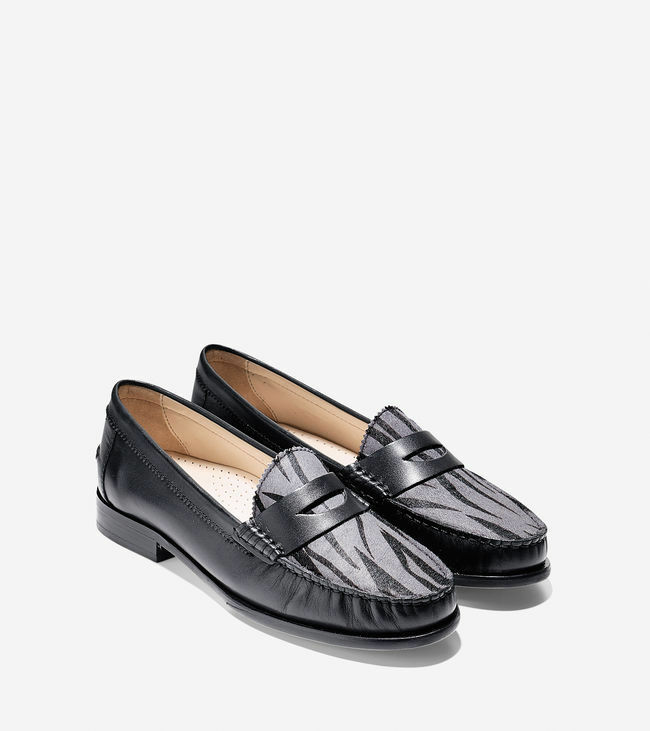 Cole Haan Womens Kent Loafer shoes Flats Zebra Black Leather  178