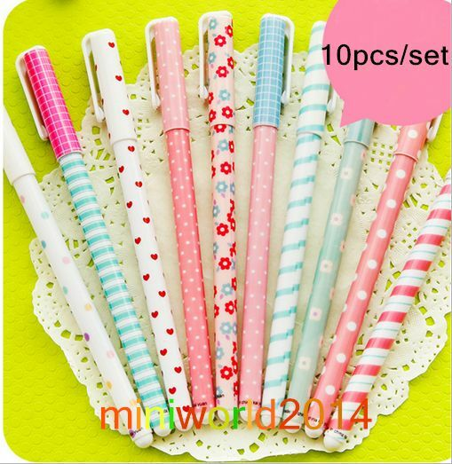 10PCS/SET Great Happy Day Stationery Colorful Rollerball /Gel Ink Pens-10 Colors