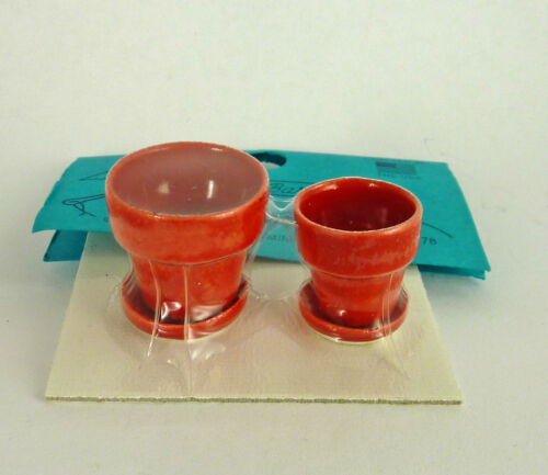 Dollhouse Miniature Artisan Handmade Flower Pots Red