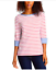 Nautica-Women-039-s-3-4-Cuffed-Sleeve-Chambray-Casual-Top-Large-Coral-White-Stripe thumbnail 6