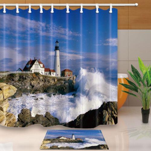 Coast Lighthouse Shower Curtain Waterproof Polyester Fabric /& 12Hooks 180*180cm