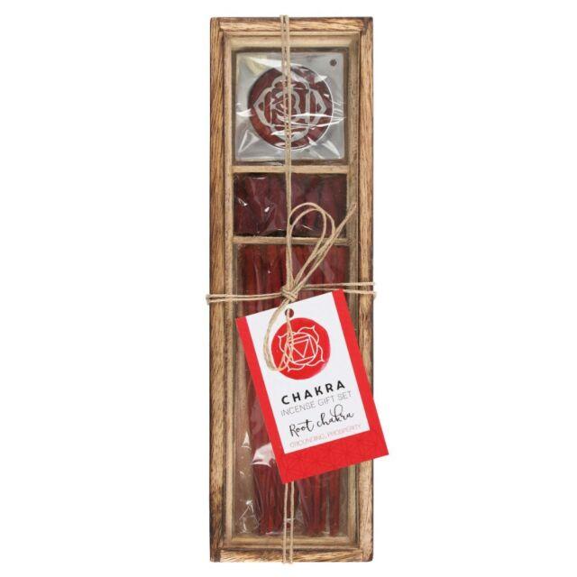 Chakra Incense Gift Set Wooden Glass Box Incense Sticks Cones Holder Ash