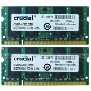 8GB 2x4GB PC2-6400 DDR2-800Mhz DDR2 200pin Sodimm Nonparity Laptop Memory RAM