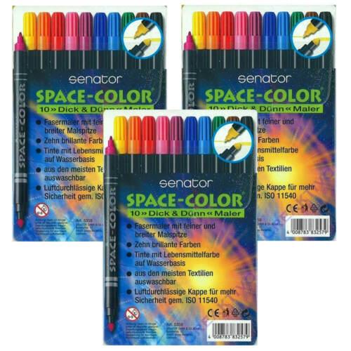 3x 10 =30 Senator Space Color zweiseitig Dick /& Dünn Maler Fasermaler Filzstifte