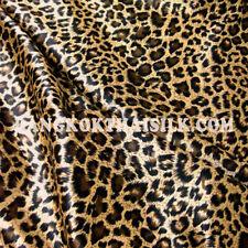 "Animal Print Leopard Brown Faux Silk Satin 60/""W Fabric DRESS KIMINO QUILT DRAPE"