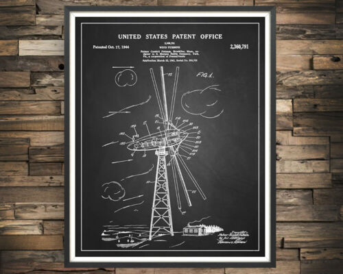 Wind Turbine Patent Print Renewable Energy Decor Vintage Poster Wall Art Gift