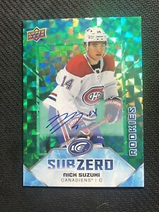 2019-20-UPPER-DECK-ICE-NICK-SUZUKI-ROOKIE-SUB-ZERO-AUTO-GREEN-VARIANT-ed-12-25