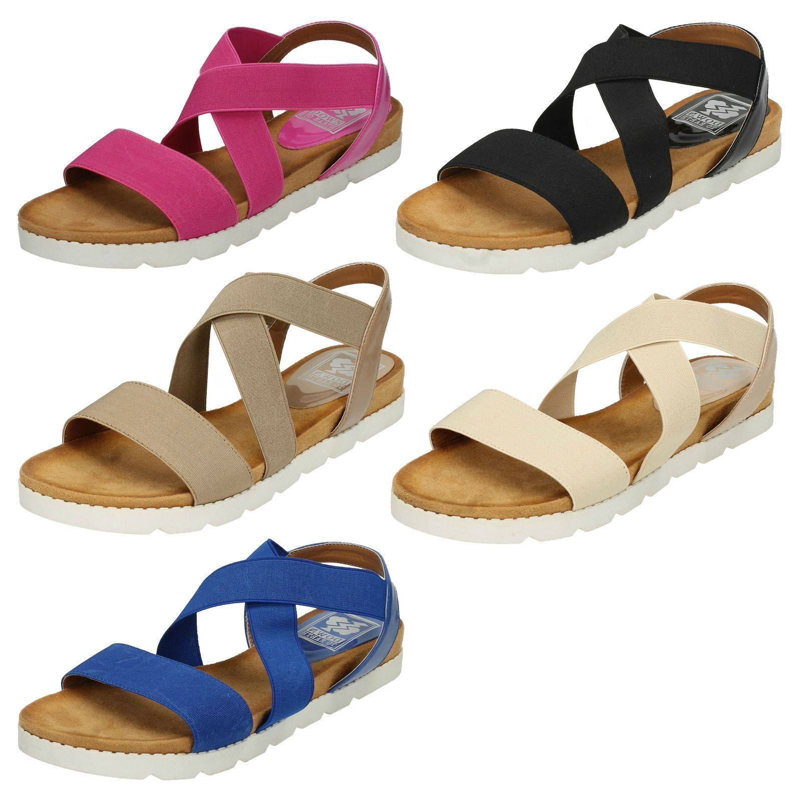 DOWN X TO EARTH LADIES OPEN TOE SYNTHETIC ELASTIC X DOWN STRAP MULE SANDALS F10323 1660c6