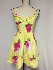 Abercrombie Fitch Bright Yellow Pink Green Floral Cross Back Sun Dress Size S