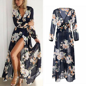 9f9580856f7 Womens Ladies Floral V Neck Chiffon Long Maxi Dress Party Evening ...
