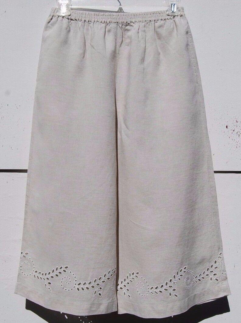 Eskandar NATURAL Linen Embroiderot Eyelet Hem Wide Leg Pant  (1)  695