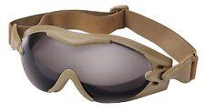 Coyote Brown Anti-Fog SWAT TEC Tactical Goggles w/ Elastic Headband Rothco 11397