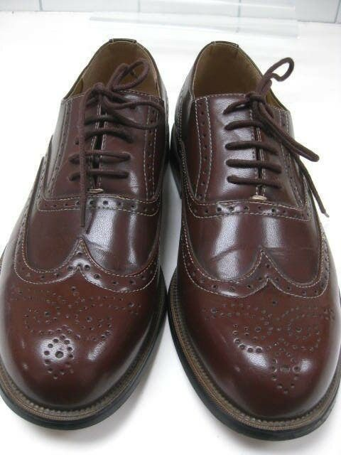 Mens H BROGUES brown leather lace-ups SHOES size UK 10 smart office work