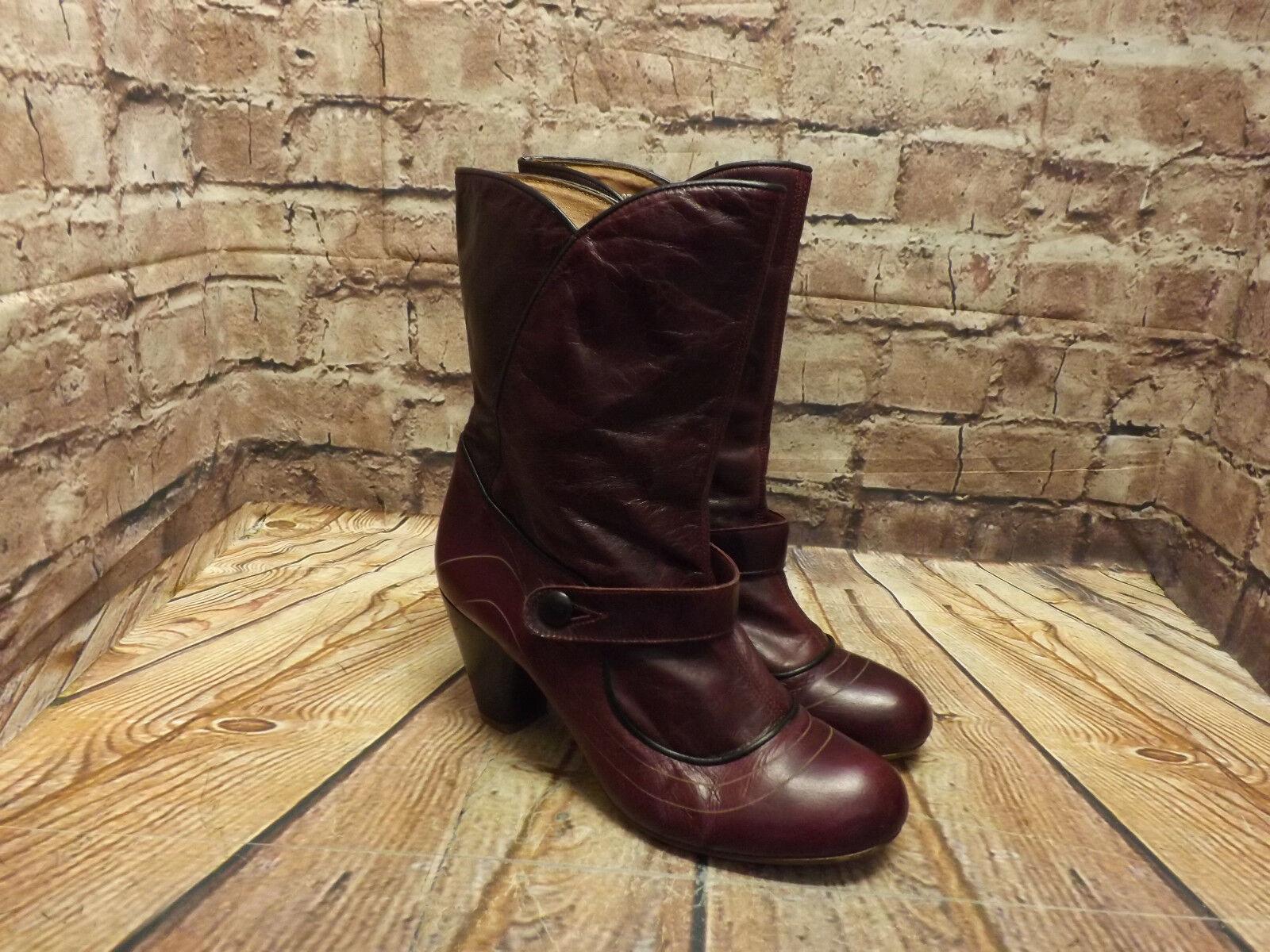 Womens Purple Leather Pull On Mid Heel Mid Calf Boots EU 40